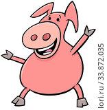 Cartoon Illustration of Happy Pig or Piglet Farm Animal Character. Стоковое фото, фотограф Zoonar.com/Igor Zakowski / easy Fotostock / Фотобанк Лори