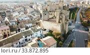 Aerial view of castle Palacio Real de Olite. Navarre. Spain (2018 год). Стоковое видео, видеограф Яков Филимонов / Фотобанк Лори