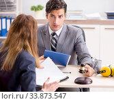 Купить «Lawyer talking to client in office», фото № 33873547, снято 31 июля 2018 г. (c) Elnur / Фотобанк Лори