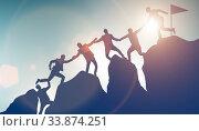 Купить «Concept of teamwork with team climbing mountain top», фото № 33874251, снято 4 июня 2020 г. (c) Elnur / Фотобанк Лори