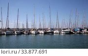 Купить «Yachts at the sea pier on a sunny summer day», видеоролик № 33877691, снято 29 мая 2020 г. (c) Наталья Волкова / Фотобанк Лори
