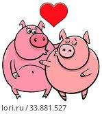 Valentines Day Greeting Card Cartoon Illustration with Pig Characters in Love. Стоковое фото, фотограф Zoonar.com/Igor Zakowski / easy Fotostock / Фотобанк Лори