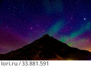 Купить «Of Iceland Aurora and mountain silhouette. Shooting Location: Iceland, Reykjavik», фото № 33881591, снято 30 мая 2020 г. (c) age Fotostock / Фотобанк Лори