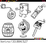 Black and White Cartoon Illustration of Funny Objects Characters Clip Art Set Coloring Book Page. Стоковое фото, фотограф Zoonar.com/Igor Zakowski / easy Fotostock / Фотобанк Лори