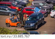 Купить «Broken cars for export in the Cargo Port of Odessa, Ukraine», фото № 33885767, снято 16 сентября 2019 г. (c) Sergii Zarev / Фотобанк Лори