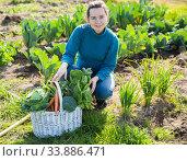 Купить «Female gardener with greens», фото № 33886471, снято 7 марта 2019 г. (c) Яков Филимонов / Фотобанк Лори