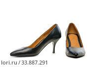 stylish female shoes on white background. Стоковое фото, фотограф Константин Лабунский / Фотобанк Лори