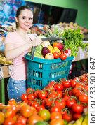 Woman with basket with greengrocery in store. Стоковое фото, фотограф Яков Филимонов / Фотобанк Лори