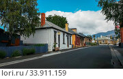 HOBART, AUSTRALIA- DECEMBER, 21, 2016: historic houses along hampden road at battery point in tasmania, australia. Стоковое фото, фотограф Zoonar.com/Christopher Bellette / age Fotostock / Фотобанк Лори