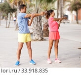 Couple training outdoors. Стоковое фото, фотограф Яков Филимонов / Фотобанк Лори