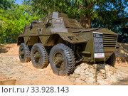 """Купить «Британский колесный бронетранспортер """"Сарацин"""" в военном музее Orr's Hill. Тринкомали, Шри-Ланка», фото № 33928143, снято 10 февраля 2020 г. (c) Виктор Карасев / Фотобанк Лори"""