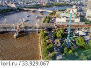 LONDON - AUGUST 19, 2017: Cityscape view from the London Eye. Редакционное фото, фотограф Nataliia Zhekova / Фотобанк Лори