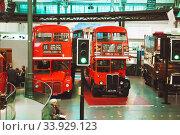 Купить «LONDON - AUGUST 22, 2017: Old double decker buses in London Transport Museum, the UK», фото № 33929123, снято 22 августа 2017 г. (c) Nataliia Zhekova / Фотобанк Лори