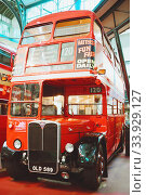 Купить «LONDON - AUGUST 22, 2017: Old double decker buses in London Transport Museum, the UK. This is an exhibition of the London Transport», фото № 33929127, снято 22 августа 2017 г. (c) Nataliia Zhekova / Фотобанк Лори