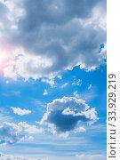 Купить «Голубое небо.Dramatic blue sky background. Picturesque colorful clouds lit by sunlight», фото № 33929219, снято 19 мая 2020 г. (c) Зезелина Марина / Фотобанк Лори
