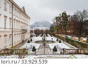 Views to hohensalzburg fortress from mirabell gardens at winter (2018 год). Стоковое фото, фотограф Nataliia Zhekova / Фотобанк Лори