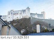 Hohensalzburg Fortress. Salzburg. Austria. Beautiful view on Salzburg skyline with Festung Hohensalzburg (2018 год). Стоковое фото, фотограф Nataliia Zhekova / Фотобанк Лори