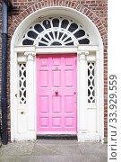 A pink door in Dublin, Ireland. Arched Georgian door house front in Dublin (2019 год). Стоковое фото, фотограф Nataliia Zhekova / Фотобанк Лори