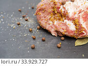 Купить «A large piece of fatty pork meat marinated with mustard, pepper and various spices», фото № 33929727, снято 14 мая 2018 г. (c) Nataliia Zhekova / Фотобанк Лори