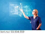 Купить «Doctor touching blue screen with full body analyze concept», фото № 33934559, снято 9 июля 2020 г. (c) easy Fotostock / Фотобанк Лори