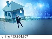 Купить «Mortgage repayment failure concept with man», фото № 33934807, снято 10 июля 2020 г. (c) Elnur / Фотобанк Лори