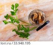 Купить «Close-up of delicious marinated mushrooms assorted», фото № 33940195, снято 11 июля 2020 г. (c) Яков Филимонов / Фотобанк Лори