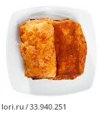 Купить «Napolitana with meat and cheese, spanish pastry», фото № 33940251, снято 15 июля 2020 г. (c) Яков Филимонов / Фотобанк Лори