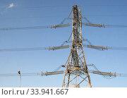 Опора воздушной линии электропередачи. Стоковое фото, фотограф Щеголева Ольга / Фотобанк Лори