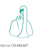 Купить «Illustration sketch of hand drawn swan , outline contour style, isolated on white background - vector», фото № 33944667, снято 5 июля 2020 г. (c) age Fotostock / Фотобанк Лори
