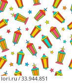 Купить «Illustration Arabian Seamless Pattern with Lamps and Stars. Colorful Outline Flat Elements -», фото № 33944851, снято 8 июля 2020 г. (c) age Fotostock / Фотобанк Лори