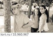 Купить «playing hide and seek. boy closed eyes his hands», фото № 33960967, снято 30 июня 2018 г. (c) Татьяна Яцевич / Фотобанк Лори