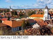 Купить «Aerial view of Eger with Servite Church», фото № 33967691, снято 30 октября 2017 г. (c) Яков Филимонов / Фотобанк Лори