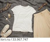 Купить «White t-shirt mock up, copy space for print design», фото № 33967747, снято 8 июня 2020 г. (c) Ольга Сергеева / Фотобанк Лори