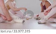 Купить «Caucasian ballet female dancers sitting together on the floor and chatting while tying ballet shoes», видеоролик № 33977315, снято 24 октября 2019 г. (c) Wavebreak Media / Фотобанк Лори