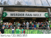 Germany, Bremen - Fanshop at the Weser Stadium, Day of the Fans at the Werder Bremen Bundesliga football club (2019 год). Редакционное фото, агентство Caro Photoagency / Фотобанк Лори