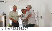 Купить «Caucasian senior couple and Caucasian senior man spending time together», видеоролик № 33984307, снято 8 ноября 2019 г. (c) Wavebreak Media / Фотобанк Лори