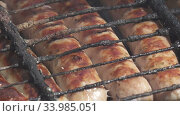 Купить «BBQ.Grilled sausages are fried and smoked in charcoal grills. Sausages in a natural shell. Tasty juicy sausages grilling over a fire, Shot in 4K UHD», видеоролик № 33985051, снято 10 июня 2020 г. (c) Куликов Константин / Фотобанк Лори