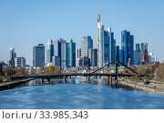 Skyline, Frankfurt am Main, Hesse, Germany. Редакционное фото, агентство Caro Photoagency / Фотобанк Лори