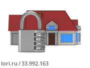 home and padlock on white background. Isolated 3D illustration. Стоковая иллюстрация, иллюстратор Ильин Сергей / Фотобанк Лори