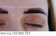 Brow master filling in the eyebrow with brown hair dye for the brows. Стоковое видео, видеограф Константин Шишкин / Фотобанк Лори