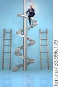 Купить «Career progression concept with ladders and staircase», фото № 33996179, снято 5 июля 2020 г. (c) Elnur / Фотобанк Лори