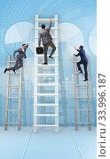 Купить «Career progression concept with various ladders», фото № 33996187, снято 5 июля 2020 г. (c) Elnur / Фотобанк Лори