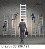 Купить «Career progression concept with various ladders», фото № 33996191, снято 4 июля 2020 г. (c) Elnur / Фотобанк Лори
