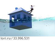 Купить «Mortgage repayment failure concept with man», фото № 33996531, снято 11 июля 2020 г. (c) Elnur / Фотобанк Лори