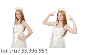 Woman with crown isolated on white. Стоковое фото, фотограф Elnur / Фотобанк Лори