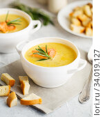 Fish cream soup with Salmon, cheese, Potatoes and herbs. Стоковое фото, фотограф Nataliia Zhekova / Фотобанк Лори