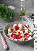 Купить «Radish, cucumber, kiwi, cheese and dill salad in a bowl on gray grunge concrete background. Seasonal Cooking, food styling.», фото № 34019171, снято 11 апреля 2019 г. (c) Nataliia Zhekova / Фотобанк Лори