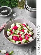 Купить «Radish, cucumber, kiwi, cheese and dill salad in a bowl on gray grunge concrete background. Seasonal Cooking, food styling.», фото № 34019175, снято 11 апреля 2019 г. (c) Nataliia Zhekova / Фотобанк Лори
