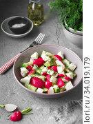 Купить «Radish, cucumber, kiwi, cheese and dill salad in a bowl on gray grunge concrete background. Seasonal Cooking, food styling.», фото № 34019179, снято 11 апреля 2019 г. (c) Nataliia Zhekova / Фотобанк Лори