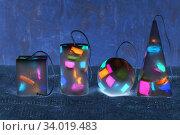 Купить «Handmade candles in the shape of a pyramid, cube, cylinder and sphere», фото № 34019483, снято 1 февраля 2017 г. (c) Nataliia Zhekova / Фотобанк Лори